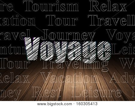 Vacation concept: Glowing text Voyage in grunge dark room with Wooden Floor, black background with  Tag Cloud