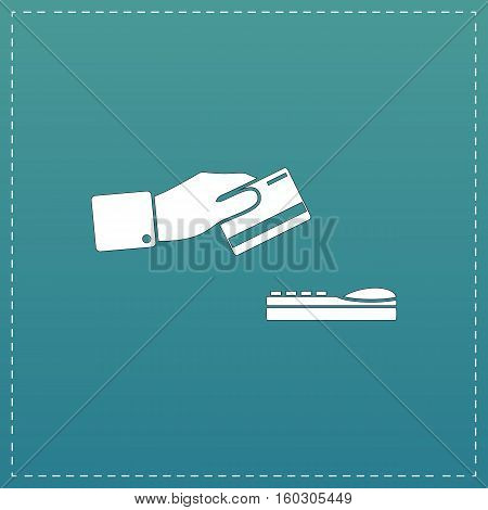 Hand swiping a credit card. White flat icon with black stroke on blue background