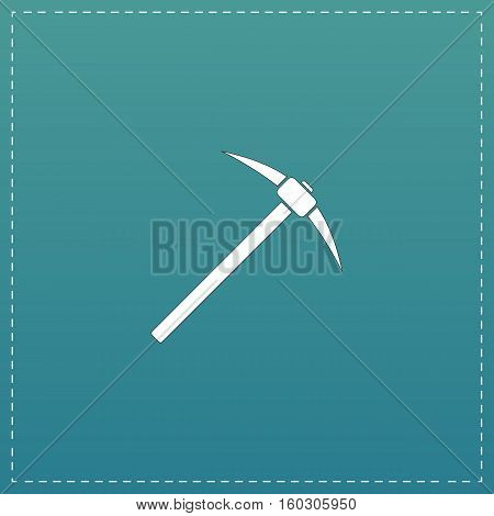 Pick icon. White flat icon with black stroke on blue background
