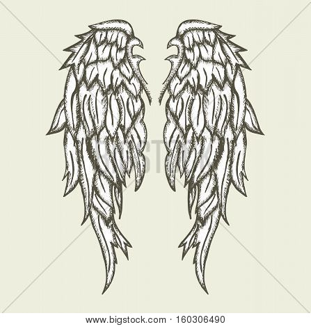 angel wings  design tattoo symbol fantasy vector stock