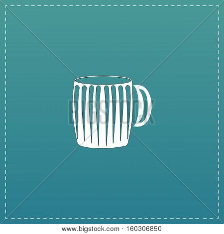 Empty beer mug. White flat icon with black stroke on blue background