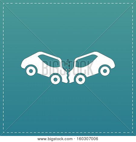 Car crash and accidents. White flat icon with black stroke on blue background
