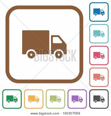 Delivery truck simple icons in color rounded square frames on white background