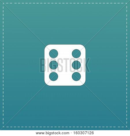 One dices - side with 6. White flat icon with black stroke on blue background