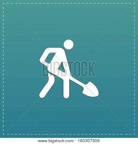 Building site. White flat icon with black stroke on blue background
