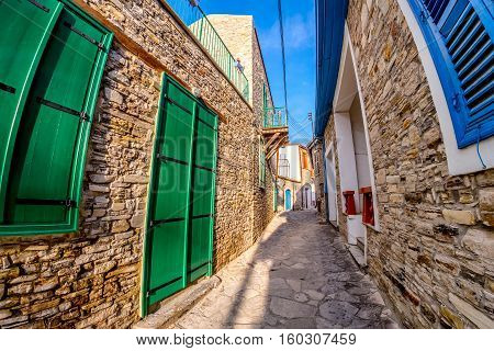 Cobbled alleyway at Kato Drys village. Larnaca District Cyprus