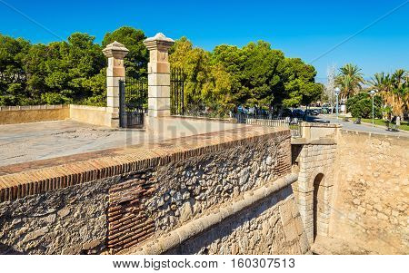 Entrance gate of San Fernando Castle in Alicante - Spain