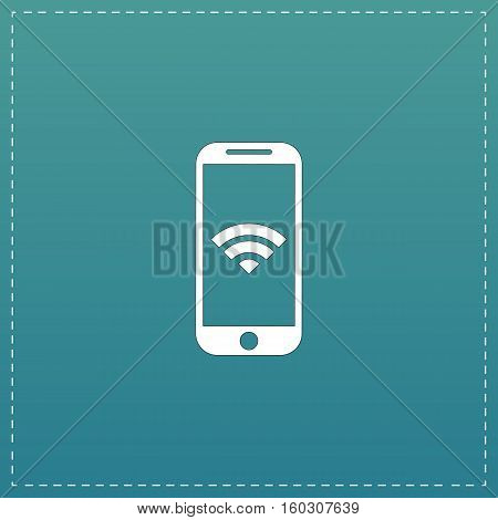 Wi fi on your smartphone. White flat icon with black stroke on blue background