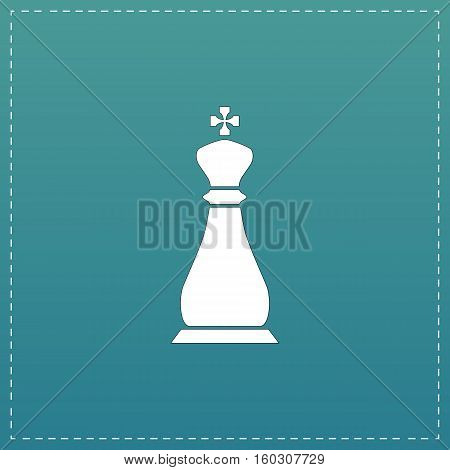 Chess king. White flat icon with black stroke on blue background