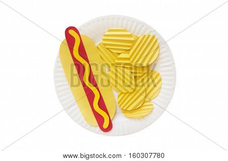 hot dog and potato chips  from a paper. hot dog with yellow mustard and rippled potato crisps made of colored paper on a disposable plate. the concept of junk food. isolated on white background, top view
