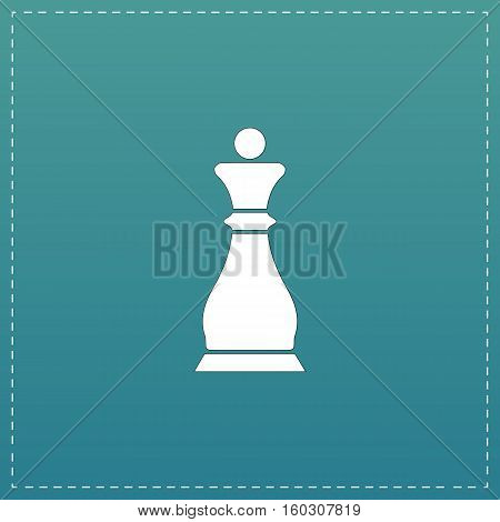 Chess queen. White flat icon with black stroke on blue background