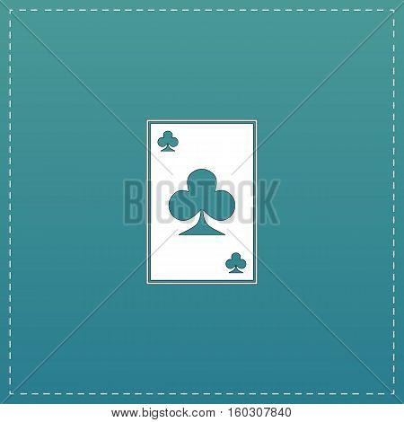 Clubs card. White flat icon with black stroke on blue background