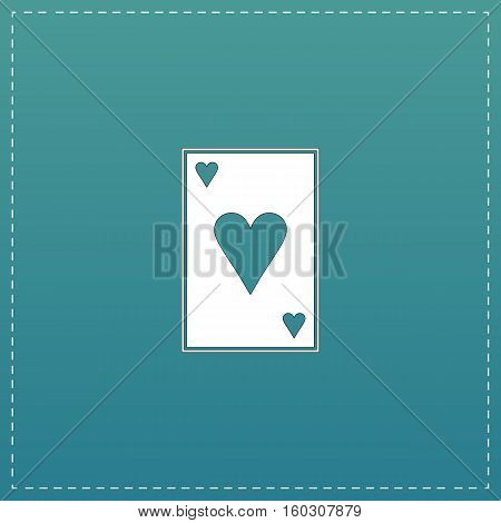 Hearts card. White flat icon with black stroke on blue background