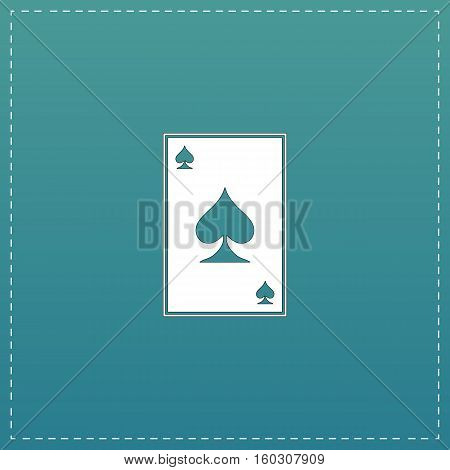 Spades card. White flat icon with black stroke on blue background