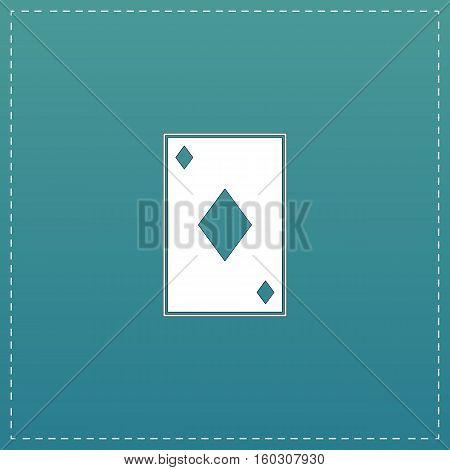 Diamonds card. White flat icon with black stroke on blue background