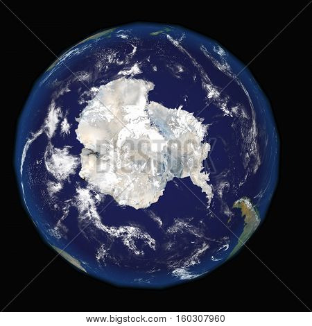 Antarctica on earth and universe background 3D render.