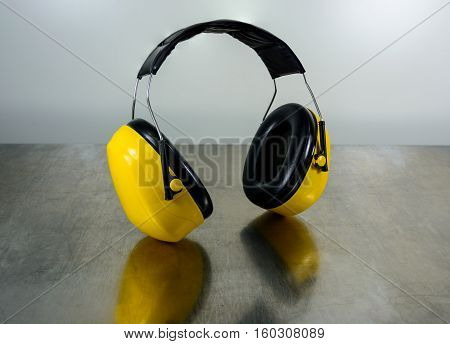 Hearing protection yellow ear muffs with clipping paths