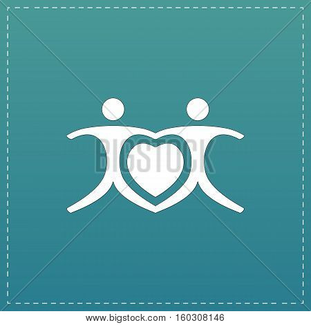 Love people - heart. White flat icon with black stroke on blue background