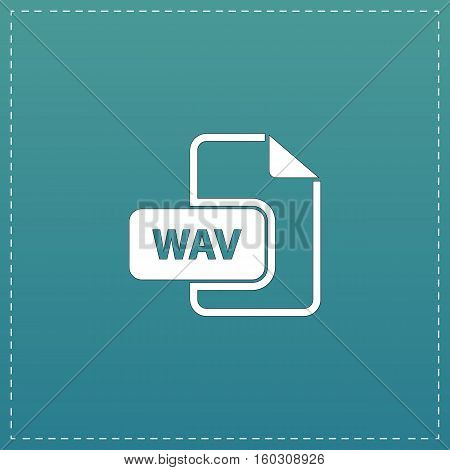 WAV audio file extension. White flat icon with black stroke on blue background