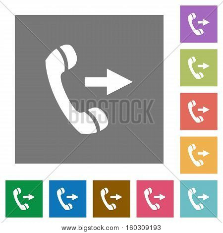 Outgoing call flat icons on simple color square background.