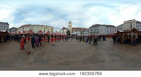 Bratislava, Slovakia - November 26, 2016: Christmas fair in old city square. . 360 vr panoramic