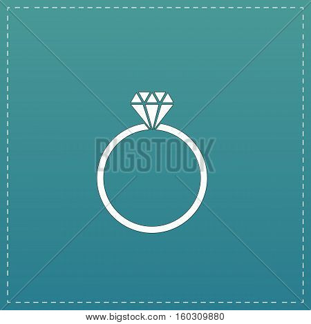 Diamond engagement ring. White flat icon with black stroke on blue background