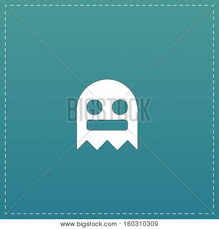 Kawaii cute ghost. White flat icon with black stroke on blue background
