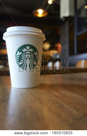 Kuala Lumpur,  Malaysia, September 2016 - starbuck outlet in Langkawi Malaysia near Cenang Beach. Starbucks Corporation is an American global coffee company