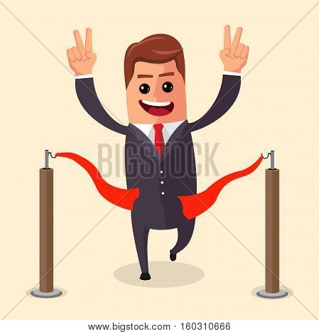 Vector manager or businessman at finish line. A man in a suit crosses the finish line, red ribbon. Illustration. cartoon businessman winner. Manager character winner. Flat character.