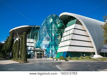 BAKU, AZERBAIJAN -OCT 3, 2016: Park Bulvar modern shopping mall in Baku on Oct 3, 2016, Azerbeijan . Futuristic architecture building in Baku with conceptual design.