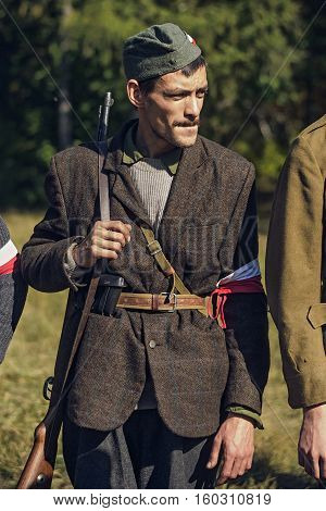 Chelyabinsk, Russia - September 24, 2016: Historical Reenactment Of World War Ii, Polish Partisan