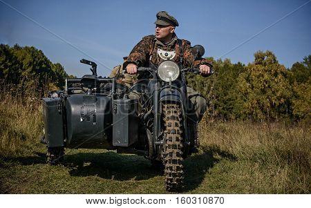 Chelyabinsk, Russia - September 24, 2016: Historical Reenactment Of World War Ii, German Soldier On