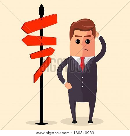 Vector illustration of business strategy. Businessman or manager have to choose between different routes. He is looking on a road sign with directions