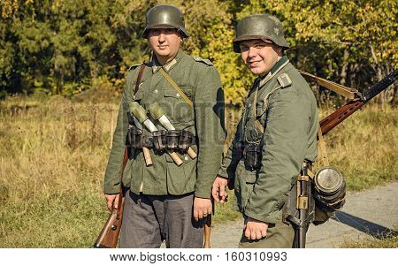 Chelyabinsk, Russia - September 24, 2016: Historical Reenactment Of World War Ii, German Soldier