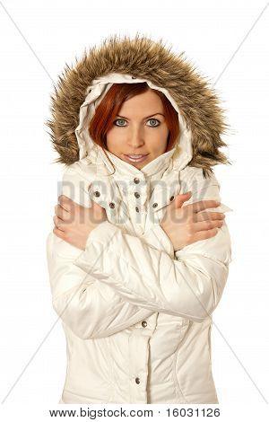 Attractive woman wearing winter coat