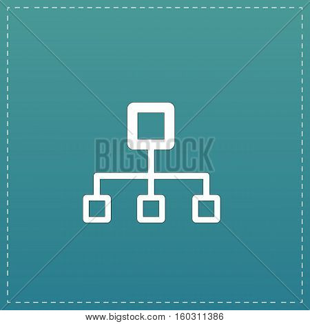 Network block diagram. White flat icon with black stroke on blue background
