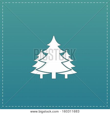 Tree, Christmas fir tree. White flat icon with black stroke on blue background