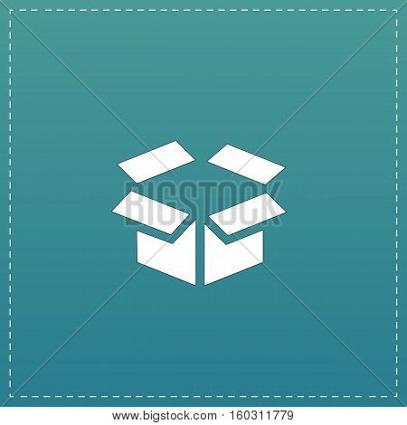 Open box. White flat icon with black stroke on blue background