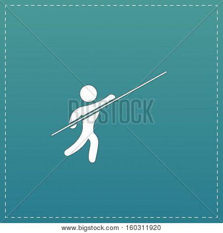 Pole vault athlete. White flat icon with black stroke on blue background