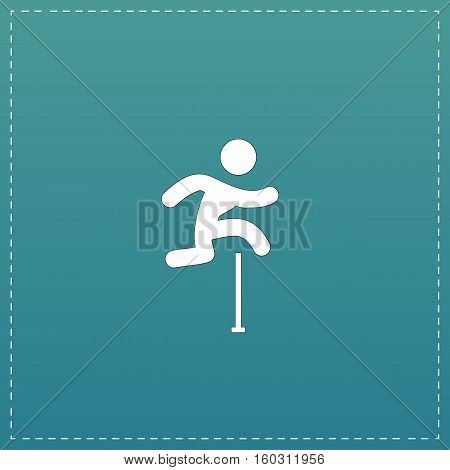 Man figure jumping over obstacles. White flat icon with black stroke on blue background