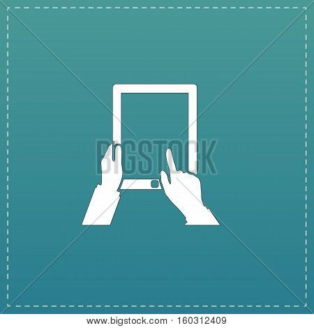 Tap And Hold - Tablet. White flat icon with black stroke on blue background