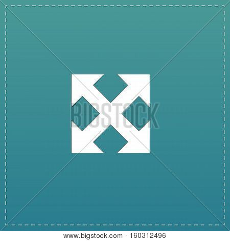 Four sides arrow. White flat icon with black stroke on blue background