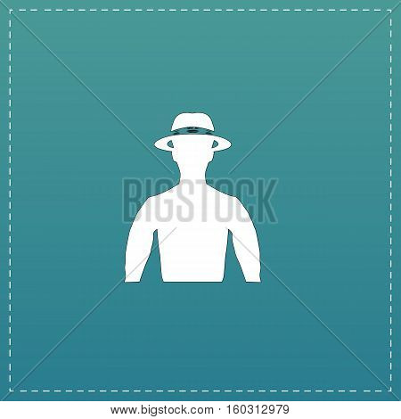 Man with broad-brim. White flat icon with black stroke on blue background