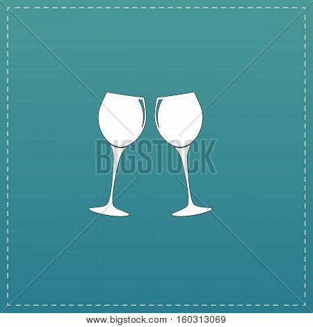 Two glasses of wine or champagne. White flat icon with black stroke on blue background