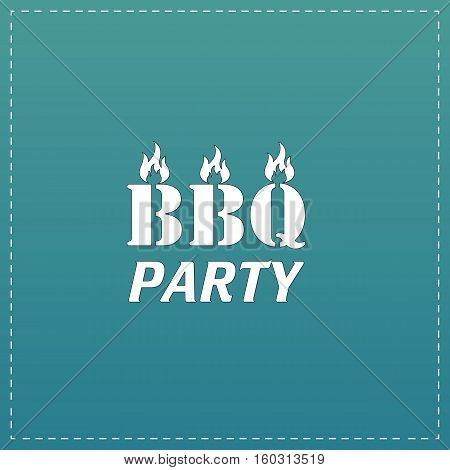 Flaming BBQ Party word design element. White flat icon with black stroke on blue background