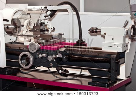 Lathe turning machine in metal processing industry
