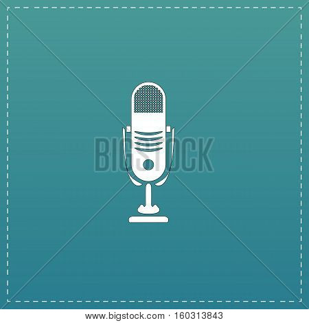 Simple retro microphone. White flat icon with black stroke on blue background
