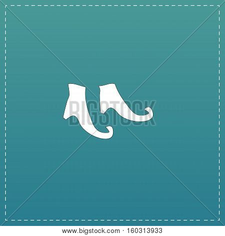 Witch boots. White flat icon with black stroke on blue background
