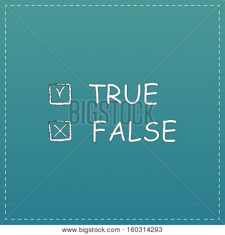 True and False. White flat icon with black stroke on blue background