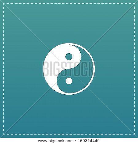Ying-yang icon of harmony and balance. White flat icon with black stroke on blue background